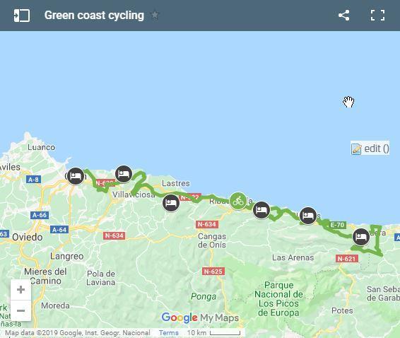 Mapa Costa De Asturias.Asturias En Bici A Tu Aire 8 Dias En Bicicleta Electrica